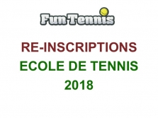 RE-INSCRIPTIONS ECOLE DE TENNIS 2018